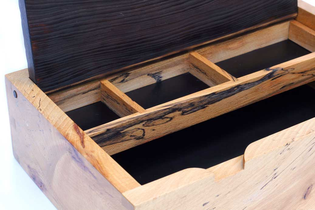 Interior compartments of spalted Beech jewellery box