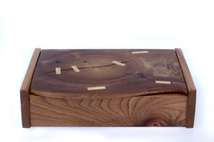 Elm box with hornbeam inlays and leather interior