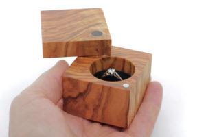 Olive wood box with black velvet interior