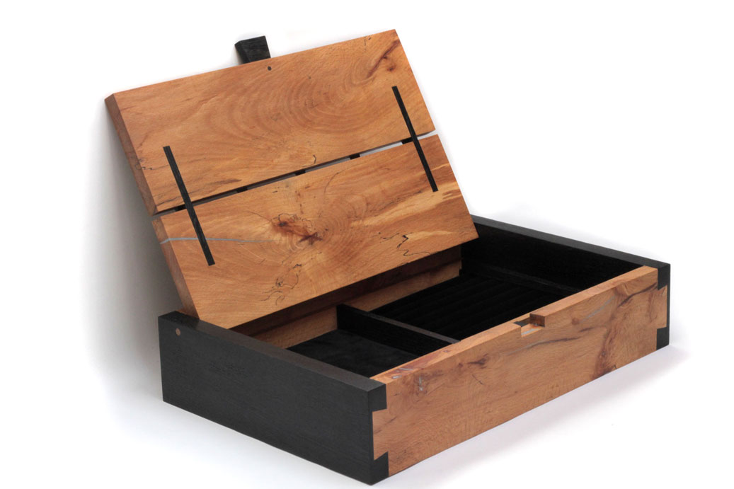 Spalted beech and bog oak jewellery box
