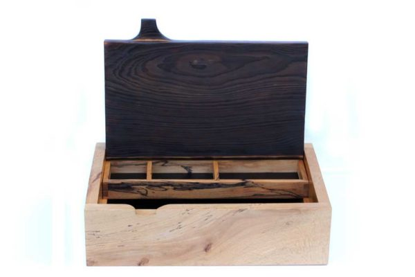Large Beech and wild Cherry jewellery box with pivot hinged lid by Neil Martin