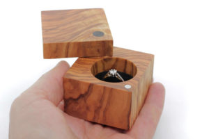 Olive wood box with black velvet interior
