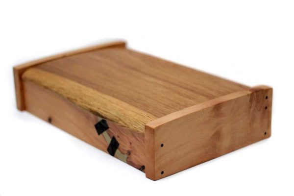 Lime and oak box with bog oak and cold cast inlays